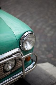 Love the colors of old school cars, gorgeous.