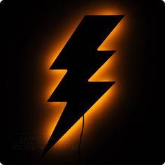 Lighting Bolt Wall Light - Illuminated Wall Art. $65.00, via Etsy.