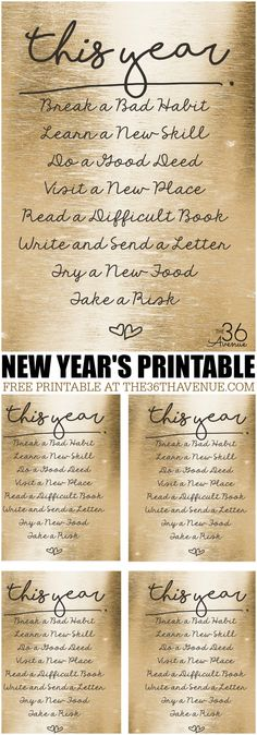 New Years Resolution Printable... PINT IT NOW AND PRINT IT LATER!