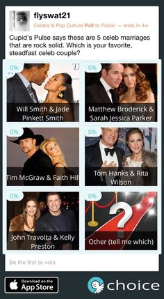 """Make your #choice for best """"rock solid"""" celeb couple! @cupidspulse has 5 you must see! www.choiceapp.co"""