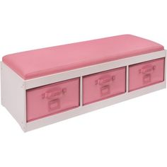 Badger Basket Kid's Storage Bench with Cushion and 3 Bins, White/Pink