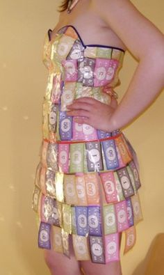 Monopoly money dress for an anything but clothes party.