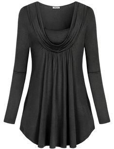 7d5f02bbaf Cowl Neck Women Pullover Knit Casual Tops Swing Tunic Shirt Pockets Grey L