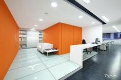 Comfortable White Orange Wall Colors For Modern Office Design With Amazing Lighting Idea In Ceiling Plus White Office Desk Also Gray Floor What are the best wall colors for modern offices? http://seekayem.com