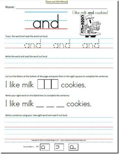 Looking for a Free Printable Worksheets For Kindergarten Sight Words. We have Free Printable Worksheets For Kindergarten Sight Words and the other about Coloring Pages it free. Writing Sentences Worksheets, Sight Word Worksheets, Sight Word Activities, Sentence Writing, Sight Words Printables, Printable Worksheets, Free Printables, Reading Worksheets, Preschool Worksheets