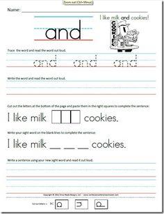 best free kindergarten worksheets images in   teacher pay  free kindergarten sight word sentence worksheets