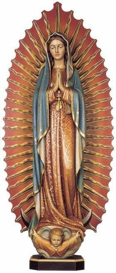 Demetz Our Lady of Guadalupe in wood carving or fiberglass from Henninger's Religious Goods in Cleveland Divine Mother, Blessed Mother Mary, Blessed Virgin Mary, Religious Images, Religious Icons, Religious Art, Madonna, Virgin Mary Art, Lady Guadalupe