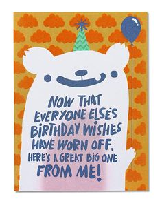 American Greetings Funny Birthday Wishes Belated Birthday Card with Flocking - 5856740 Belated Happy Birthday Wishes, Happy Late Birthday, 21st Birthday Cards, Birthday Poems, Birthday Wishes For Friend, Birthday Wishes Funny, Happy Birthday Quotes, Birthday Greeting Cards, Birthday Stuff