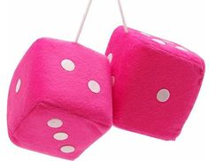 """Cool & Custom {3"""" Inch w/ String} Single Pair of """"Fuzzy, Furry & Fluffy Plush Dice"""" Rear View Mirror Hanging Ornament Decoration w/ Classy Retro Muscle Car Design [Mercedes Pink and White Color]"""