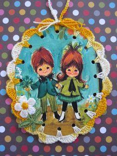 Cutie Couple / Crochet Vintage Illustration Ornament by ShoeFlower, $4.00
