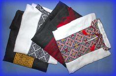 SET 4 Vyshyvanka mens Ukraine hand LINEN SHIRT White Gray Black red gypsy XL #Handmade #Vyshyvanka