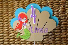 My little mermaid cake topper, my little mermaid cake banner, mermaid paper products, my little mermaid party ideas, mermaid party ideas, mermaid sign, mermaid banner, my little mermaid centerpieces, mermaid centerpieces