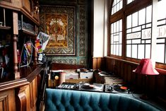 the george tavern in london. shot by todd selby.  Blue with wood tones