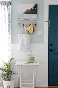 The Wicker House: Around Our Living Room Coastal Entryway, Coastal Decor, Coastal Rugs, Coastal Lighting, Coastal Chandelier, Coastal Interior, Entryway Wall, Modern Coastal, Coastal Farmhouse