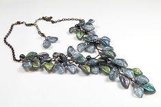 Grey Statement Necklace Bridal Jewelry Bib by CherylParrottJewelry, $115.95
