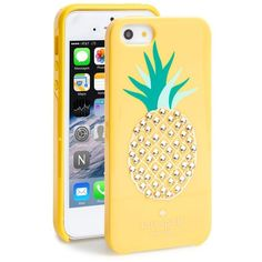 kate spade new york 'pineapple' iPhone 5 & 5s case (59 CAD) ❤ liked on Polyvore featuring accessories, tech accessories, lemon yellow and kate spade