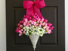 spring wreath tulips wreath front door decorations pink white handmade spring tulips wreaths