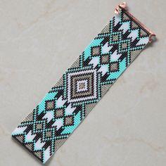 Wide Catalina Copper Arrows Bead Loom Cuff Bracelet Native American Style Beaded…