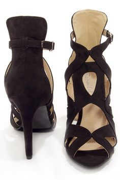 I discovered this Sonya 4 Black Strappy Peep Toe Heels on Keep. View it now.