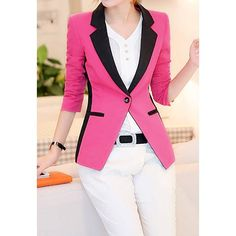 Casual Style Lapel Contrast Color Ruffle 3/4 Sleeve Blazer For Women - $28.03