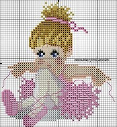 Bailarina ponto cruz Simple Cross Stitch, Cross Stitch Baby, Cross Stitch Charts, Cross Stitch Designs, Cross Stitch Patterns, Broderie Simple, Baby Looney Tunes, Pixel Pattern, Cross Stitch Alphabet