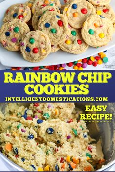 How to make soft and chewy Rainbow Chip Cookies from scratch. This cookie dough can be frozen to bake later. #cookierecipe #cookies #rainbowfood Rainbow Baking, Rainbow Food, Drop Cookies, Cake Mix Cookies, Peanut Butter Cookies, Chocolate Chip Cookies, Sweet Desserts, Delicious Desserts, Candy Recipes