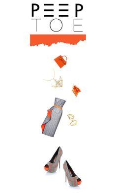 """Peep-toe in orange and grey!"" by luckydogdc ❤ liked on Polyvore featuring Roksanda, Wild Diva, Pierre Hardy, Stephanie Bates, Kattri and Hermès"