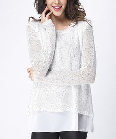 Another great find on #zulily! White Knit Layered Bow-Back Tunic #zulilyfinds