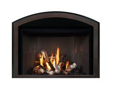 FullView Décor model with Grace Arch front in Aged Leather finish. Fireplace Fronts, Fireplace Inserts, Gas Fireplace, Hearth, Doors, Google Search, Leather, Design