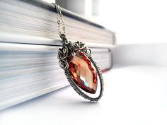 Cubic Zirconia Necklace - Silver Wire Wrapping - Red Zirconia - Valentine's Day Gift for Her - Luxury Unique - Carmine Love Necklace