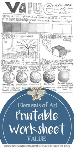 This elements of art printable worksheet covers the element of art value See examples of how to shade a value scale cast shadow highlight shadow stippling hatching cross. Art Education Lessons, Art Lessons Elementary, Elements Of Art Line, Intro To Art, How To Shade, Art Handouts, Value In Art, Art Worksheets, Reading Worksheets