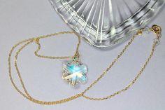 Swarovski Crystal Snowflake Necklace 14k Gold Filled Holiday