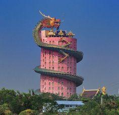 Wat Samphran Near Bangkok Is A 17-storey Buddhist Temple With A Giant Dragon Wrapped Around It #architecture #bangkok #buddha #buddhism #dragon #religion #temple #thailand #travel #watsamphran