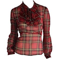 Pre-owned 1990s Vintage Betsey Johnson Tartan Plaid Tuxedo Ruffle Silk... (3 680 ZAR) ❤ liked on Polyvore featuring tops, blouses, red tuxedo, silk blouses, button blouse, red top and red blouse