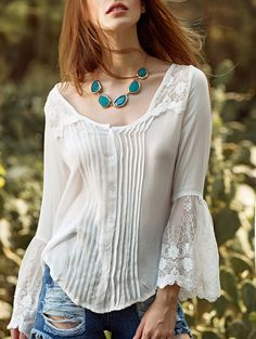 love this. pintucked and lace flare sleeve blouse