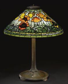 """Tiffany Studios, """"Poppy"""" table lamp, circa 1910"""