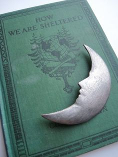 Silver Crescent Moon brooch pin by campwilder on Etsy, $5.00