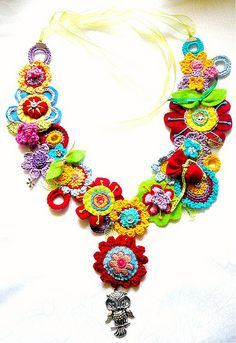 Crochet & Felt Floral Necklace ~ Inspiration only