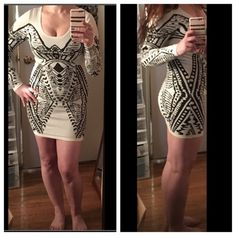 Beautiful Black and white bodycon dress Bought it in a boutique. Worn once! Dont know what brand or size as I took the labels out. It should fit size S or M. Stretchy material!! Unknown Dresses