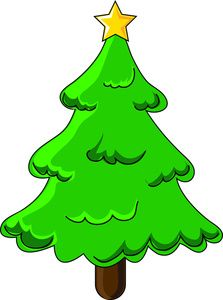 Free Christmas Tree Clip Art Image: Cartoon Christmas Tree with Star on Top