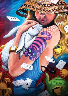 Alice tropical // white rabbit // Cheshire Cat // tea party // mushrooms // tarot deck of cards // in Wonderland