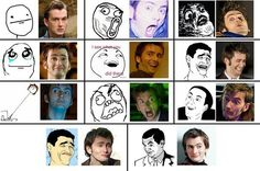 The faces of the 10th Doctor . . .