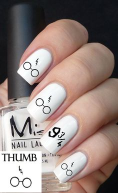 Harry Potter Glasses and Scar Nail Decal by DesignerNails on Etsy, $3.95