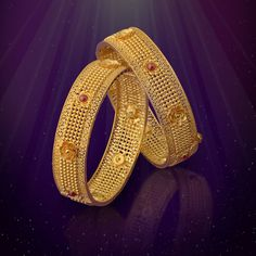 Bold and Beautiful! Gold Bangles Design, Gold Jewellery Design, Gold Jewelry, Designer Bangles, Jewellery Boxes, Fashion Jewellery, Designer Wear, Gold Jhumka Earrings, Gold Necklace