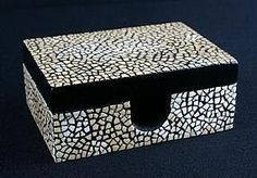 Egg Shell Mosaic - white shells on jewelry box