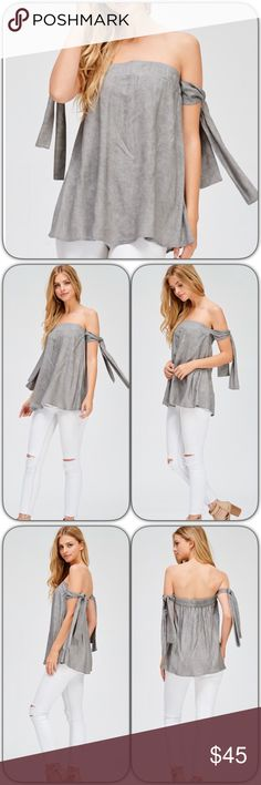 Off the Shoulder Top w/ Arm Ties Brushed grey tube top with arm ties. This is one of the cutest tops I've seen for summer. Amazing quality and pretty stretchy. Price is firm unless bundled. Thanks  Brandy Melville Tops