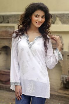 Shop for Handmade Cotton 'Paisley Whisper' Beaded Tunic (india). Get free delivery On EVERYTHING* Overstock - Your Online Women's Clothing Destination! Indian Tops, Indian Tunic, Fashion Terms, Thing 1, Sheer Material, Cotton Tunics, Types Of Sleeves, Beautiful Outfits, Paisley