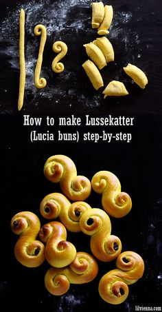 Lussekatter, traditional Swedish Lucia buns – step by step recipe Swedish Christmas Food, Xmas Food, Christmas Baking, Santa Lucia, Holiday Recipes, Great Recipes, Favorite Recipes, Just Desserts, Dessert Recipes