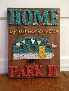 Home Is Where We Park It string art with vintage by BlossomsNKnots