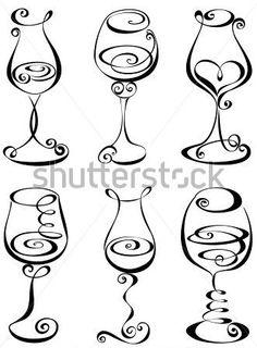 Set stylized wine glass